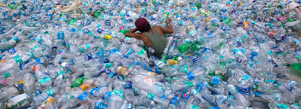 Plastic bottles in a landfill