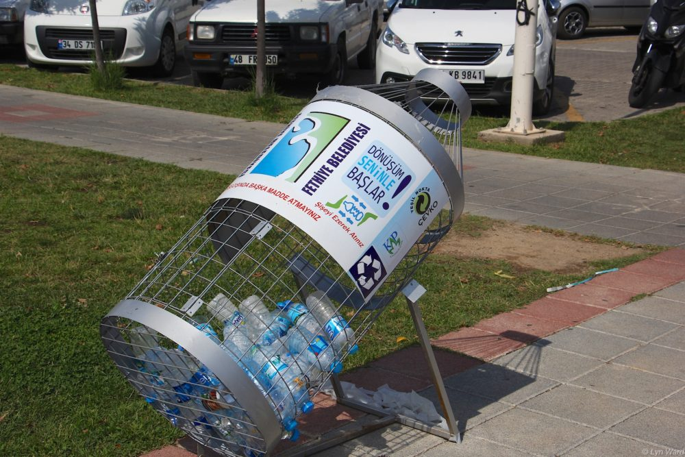 Plastic bottle recycling bin on the harbour in Fethiye