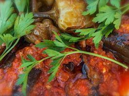 Recipe Box - Vegetables and Pulses - Yağlı Patlıcan (Fried aubergine with tomato sauce)